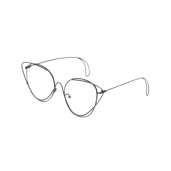 Anti UV Hollow Out Oval Sunglasses - BLACK