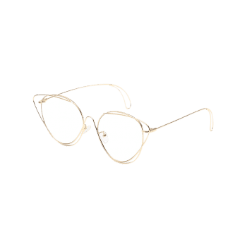 Anti UV Hollow Out Oval Sunglasses - GOLDEN