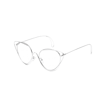 Anti UV Hollow Out Oval Sunglasses - SILVER