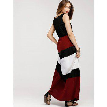 Color Block Sleeveless Maxi Dress - BLACK S