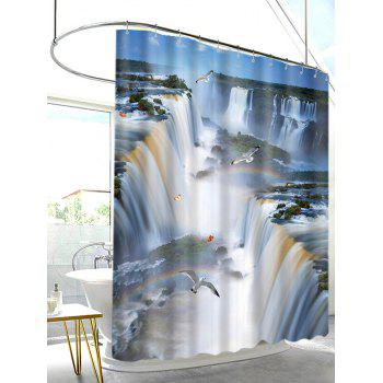 3D Natural Waterfalls Scenery Print Shower Curtain - multicolor A W71 INCH * L79 INCH