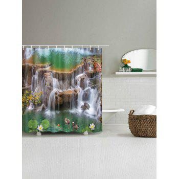 Waterfall Lotus Mandarin Duck Print Waterproof Bath Curtain - multicolor A W59 INCH * L71 INCH