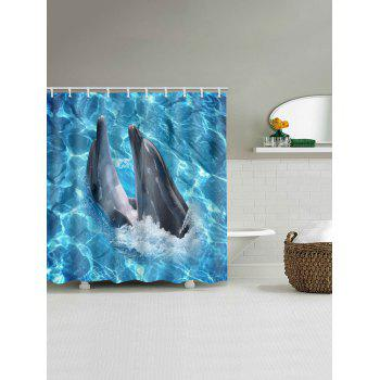 Oceanic Dophins Playing Print Shower Curtain - BUTTERFLY BLUE W59 INCH * L71 INCH