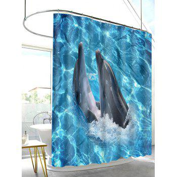 Oceanic Dophins Playing Print Shower Curtain - BUTTERFLY BLUE W71 INCH * L71 INCH