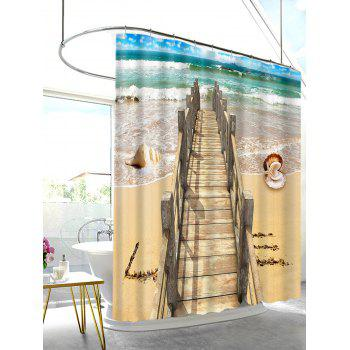 Beach Shell Wood Bridge Print Shower Bath Curtain - CAMEL BROWN W59 INCH * L71 INCH