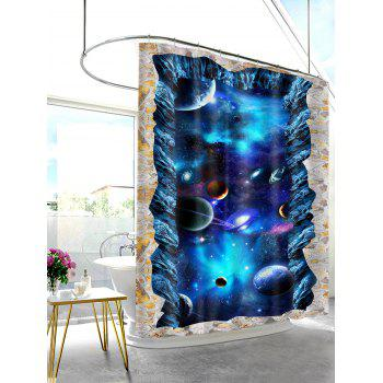 3D Starry Sky Planets Print Shower Curtain - BLUE W59 INCH * L71 INCH