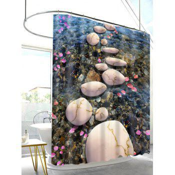 3D River Cobblestones Petals Print Shower Curtain - multicolor A W59 INCH * L71 INCH