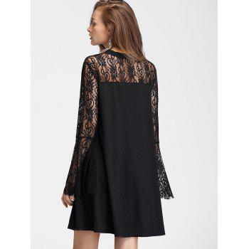 Flare Sleeve Lace Panel Straight Dress - BLACK M