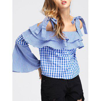 Cold Shoulder Long Sleeve Tartan Blouse - BLUE M