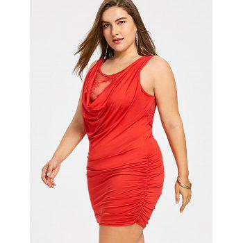 Plus Size Ruched Tight Dress with Lace Insert - BRIGHT RED XL