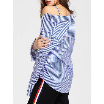 Full Sleeve Vertical Striped Shirt - BLUE S