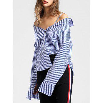 Full Sleeve Vertical Striped Shirt - BLUE XL