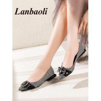 Lanbaoli Round Buckle Decor Geometric Flat Heel Shoes - BLACK 39