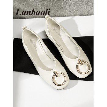 Lanbaoli Metal Detail Square Toe PU Leather Flat Heels - BEIGE 37