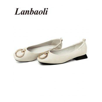 Lanbaoli Metal Detail Square Toe PU Leather Flat Heels - BEIGE 38