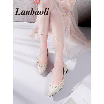 Lanbaoli Studded Pearl Pointed Toe Flat Shoes - BEIGE 38