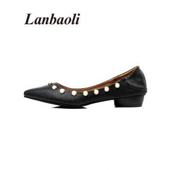 Lanbaoli Studded Pearl Pointed Toe Flat Shoes - BLACK 38