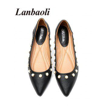 Lanbaoli Studded Pearl Pointed Toe Flat Shoes - BLACK 35