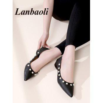Lanbaoli Studded Pearl Pointed Toe Flat Shoes - BLACK 36