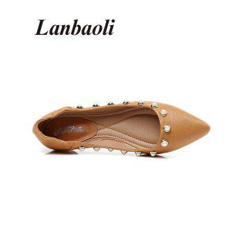 Lanbaoli Studded Pearl Pointed Toe Flat Shoes - BEE YELLOW 37
