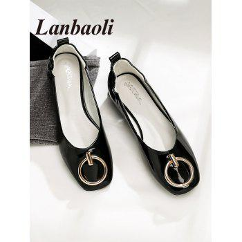 Lanbaoli Metal Detail Square Toe PU Leather Flat Heels - BLACK 37