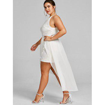 Plus Size Open Shoulder Asymmetric Lace Dress - WHITE XL