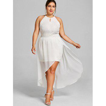 Plus Size Open Shoulder Asymmetric Lace Dress - WHITE 5XL