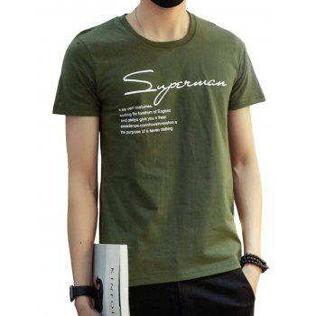 Crew Neck Simple Print T-shirt - ARMY GREEN XL