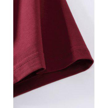 Emboss Printed Stretchy T-shirt - WINE RED S