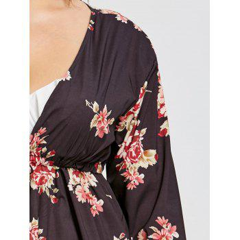 Printed Drawstring Plus Size Swim Cover Up - BLACK 5XL