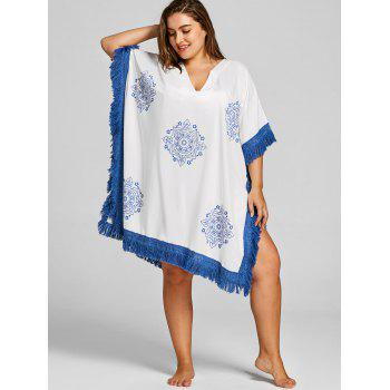 Plus Size Ethnic Tassel Cover Up - BLUE XL