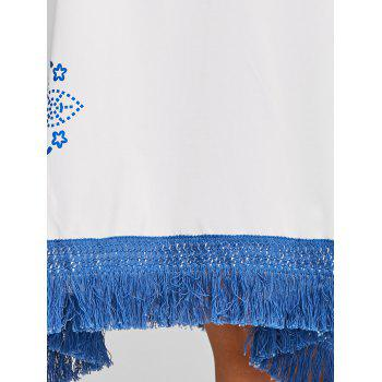 Plus Size Ethnic Tassel Cover Up - BLUE 3XL