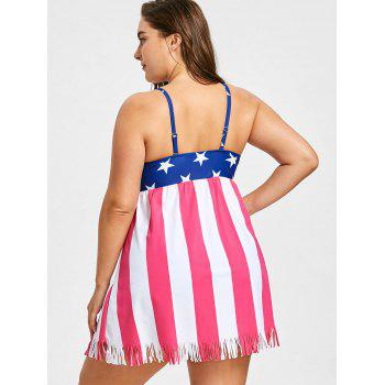 Plus Size US Flag Fringed Tankini Set - US FLAG 2X