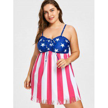 Plus Size US Flag Fringed Tankini Set - US FLAG 3X