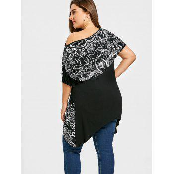 Plus Size Skew Collar Floral Capelet T-shirt - BLACK 2XL
