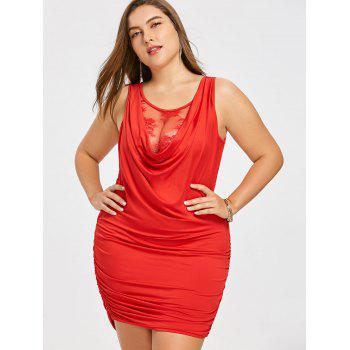 Plus Size Ruched Tight Dress with Lace Insert - BRIGHT RED 5XL