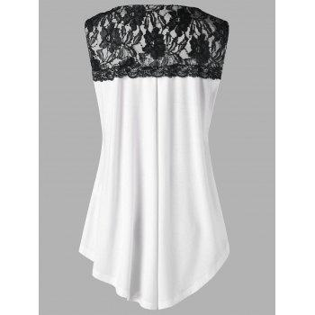 Plus Size V Neck Lace Trim Tank Top - WHITE XL