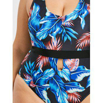 Open Back Plus Size Leaf Print Swimwear - BLUE 5XL