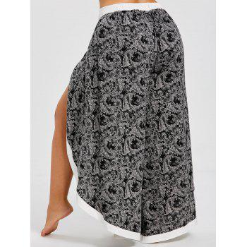 Plus Size Baroque Print Split Wide Leg Pants - BLACK XL