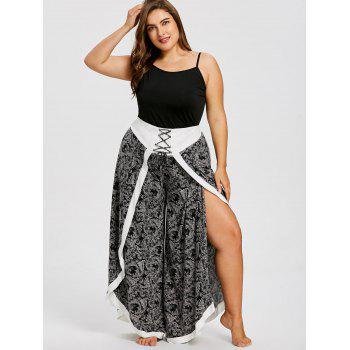 Plus Size Baroque Print Split Wide Leg Pants - BLACK 4XL