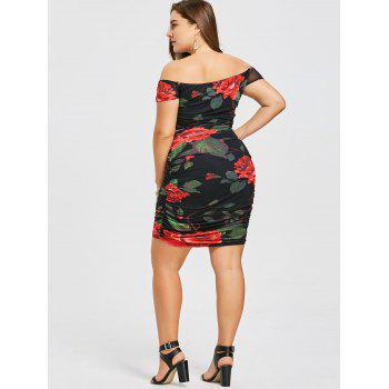 Plus Size Off The Shoulder Ruched Dress - BLACK 2XL
