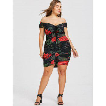 Plus Size Off The Shoulder Ruched Dress - BLACK 3XL