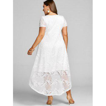 Plus Size High Low Lace Party Dress - WHITE 2XL