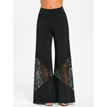 Lace Insert Elastic Waist Wide Leg Pants - BLACK L