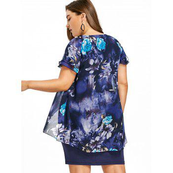 Plus Size Floral Ruffle Tight Dress - multicolor 4XL