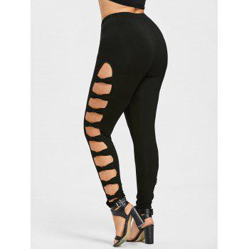 Plus Size Bow Ladder Cut Leggings - BLACK 5XL
