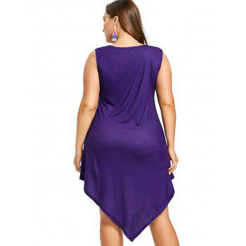 Printed Plus Size Asymmetric Sleeveless Dress - PURPLE XL