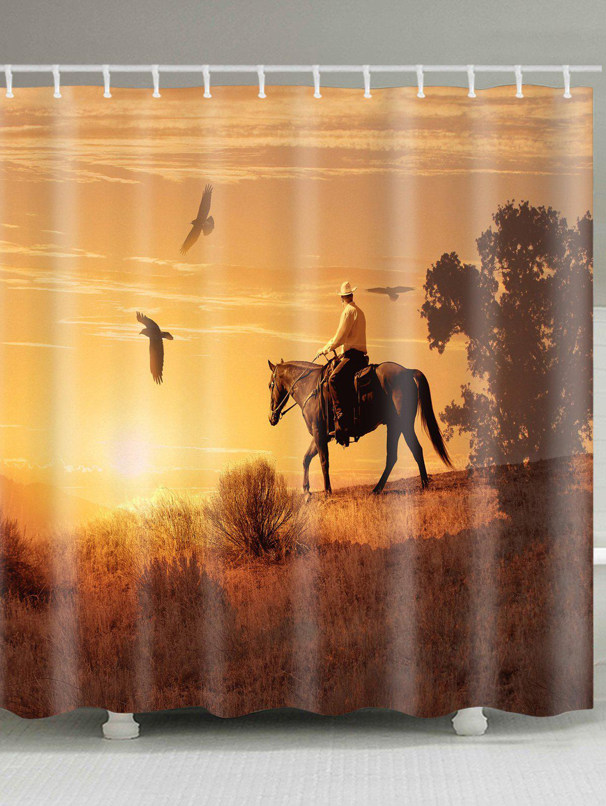 Horseman Birds Printed Showerproof Bath Curtain - BROWN W71 INCH * L71 INCH