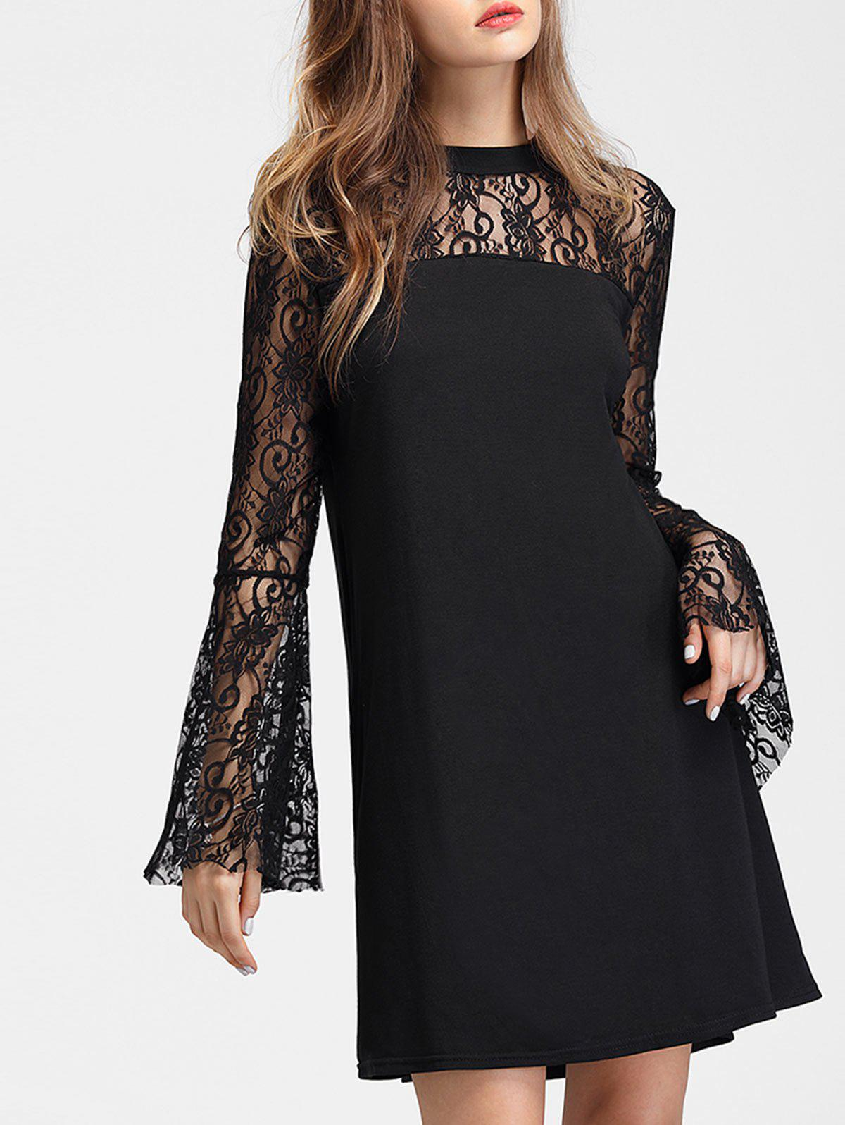 Flare Sleeve Lace Panel Straight Dress - BLACK S
