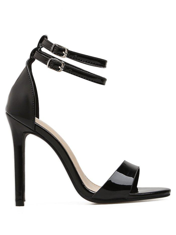 Double Ankle Strap Stiletto High Heels - BLACK 39